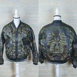 Easy Side Egyptian Embroidered Leather Bomber